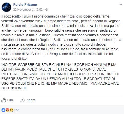 fulvio frisone sciopero della fame assistenza regione siciliana - 2