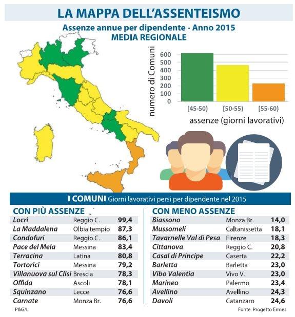 mappa assenteismo comuni italiani