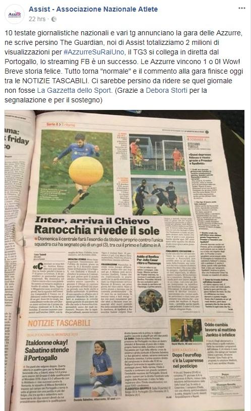 nazionale calcio femminile italia rai petizione assist - 4