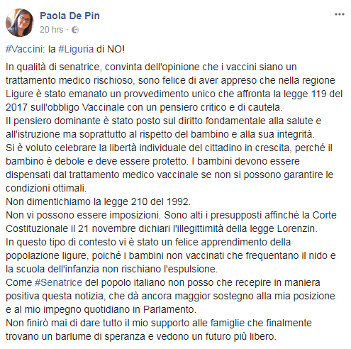 paola de pin vaccini freevax no vax antivax - 1