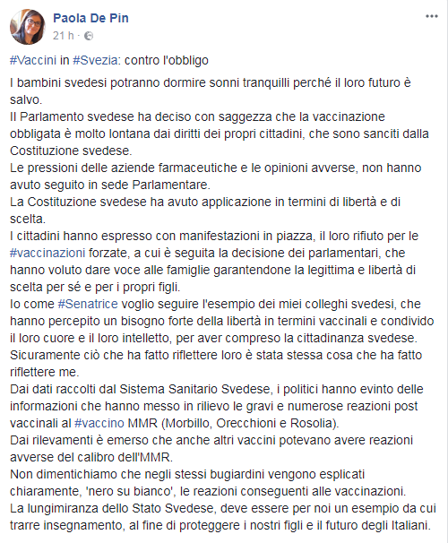 paola de pin vaccini freevax no vax antivax - 4