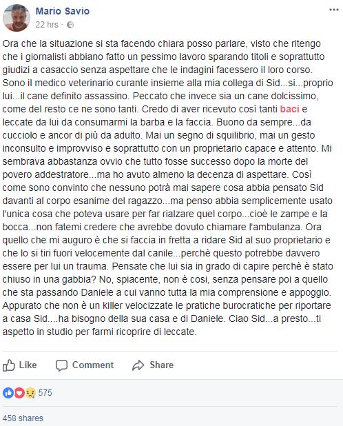 sid cane torino addestratore morto canile - 2