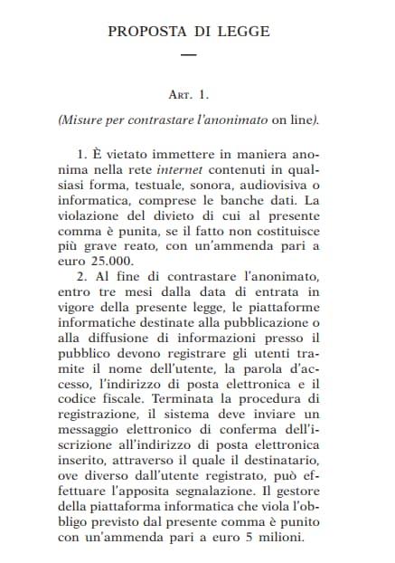 proposta di legge anonimato online - 2
