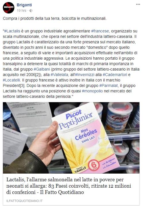 lactalis latte in polvere salmonella boicottaggio -1