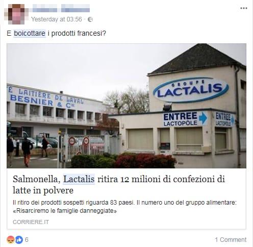 lactalis latte in polvere salmonella boicottaggio -5