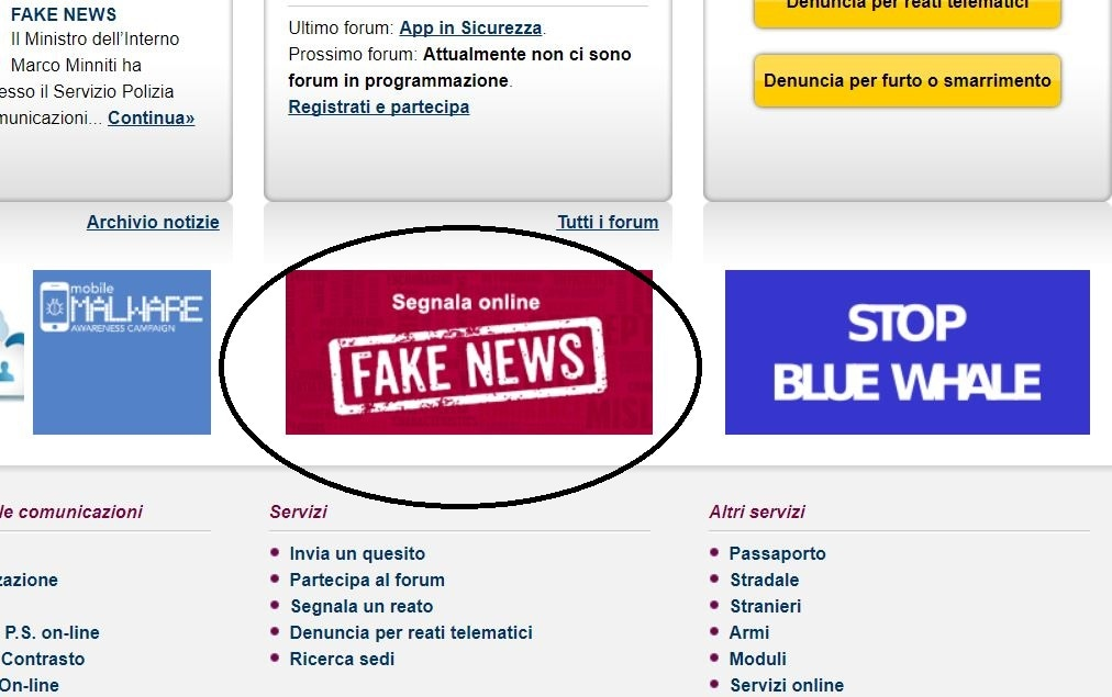 red button fake news polizia