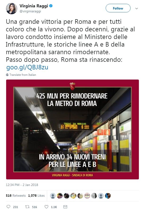 virginia raggi 425 milioni roma metro - 1