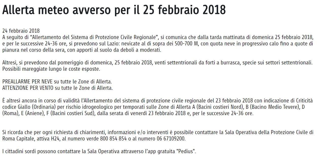 allerta meteo comune di roma lunedì 26 febbraio 2018