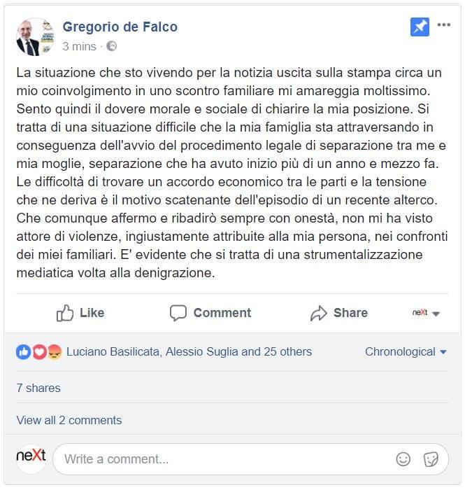 gregorio de falco moglie figlia 2