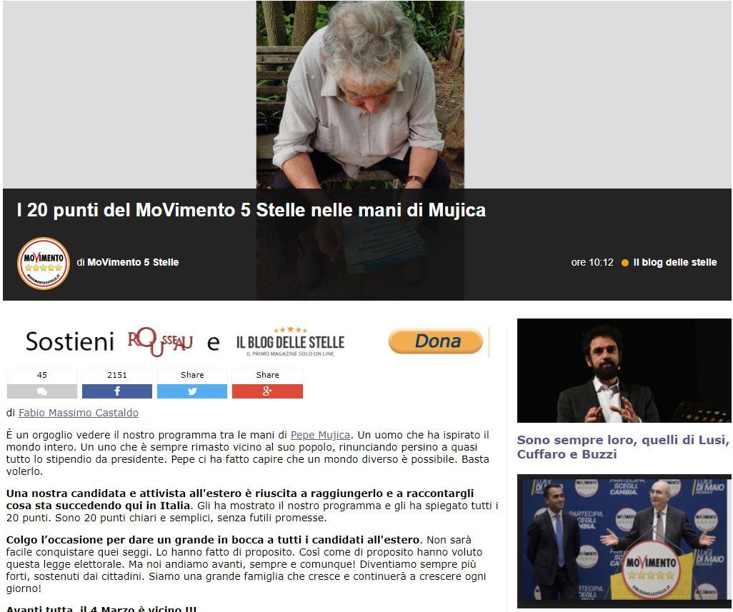 pepe mujica movimento 5 stelle