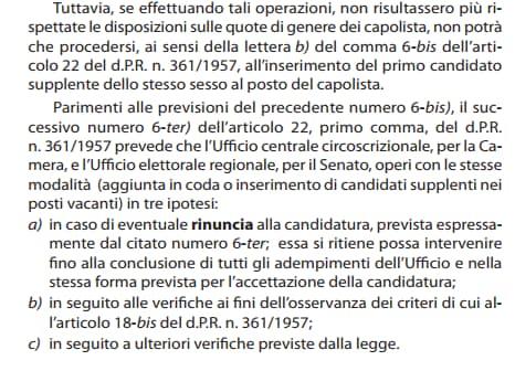 rinuncia candidatura parlamentari candidati supplenti - 1