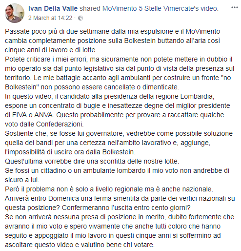 ivan della valle m5s critiche bolkestein - 3