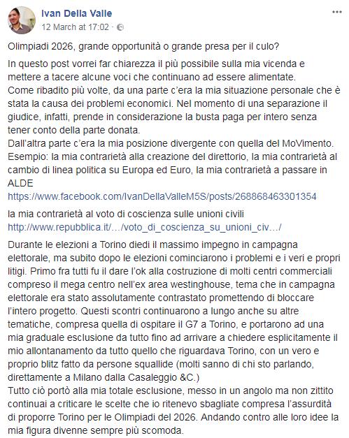 ivan della valle m5s critiche bolkestein olimpiadi rimborsi - 4