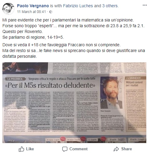 m5s trentino politiche 2018 critiche - 1