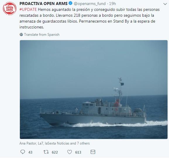 proactiva open arms emergenza mediterrano motovedetta libica - 3