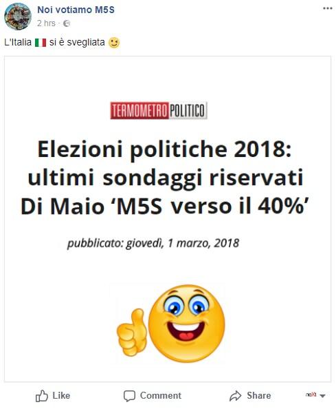 propaganda m5s facebook - 2