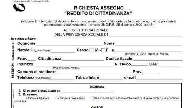 richiesta assegno reddito di cittadinanza