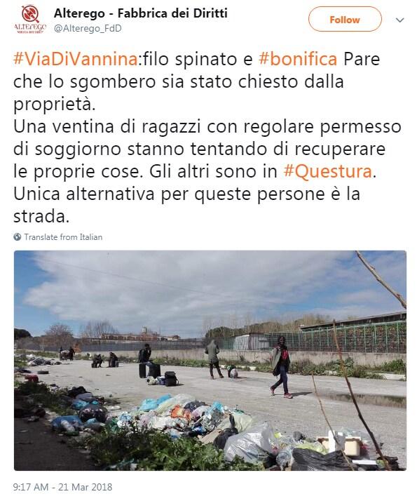 sgombero via di vannina migranti roma - 4