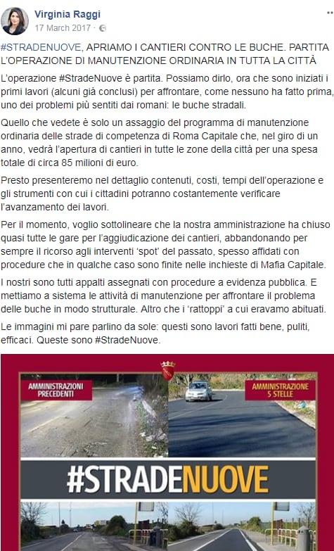 stradenuove virginia raggi buche roma m5s - 1