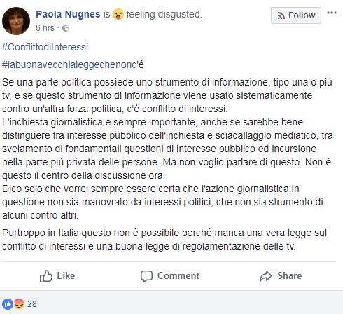 paola nugnes complotto iene m5s colf fico - 3