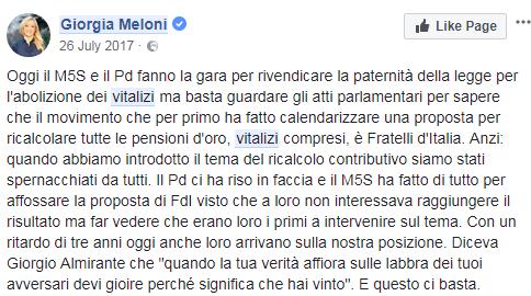 vitalizi m5s abolizione giorgia meloni - 1