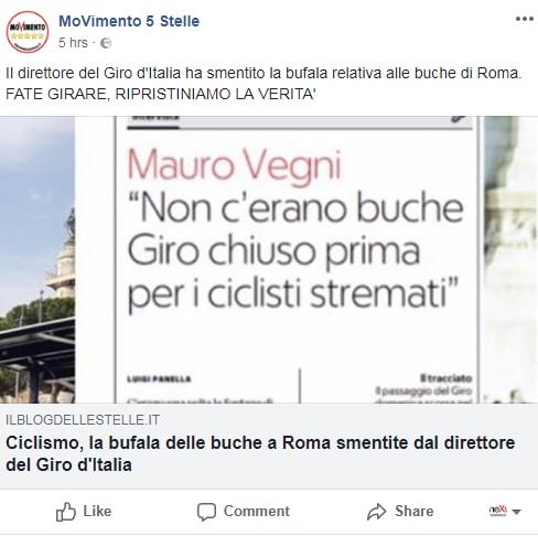 buche giro d'italia m5s roma tappa -1
