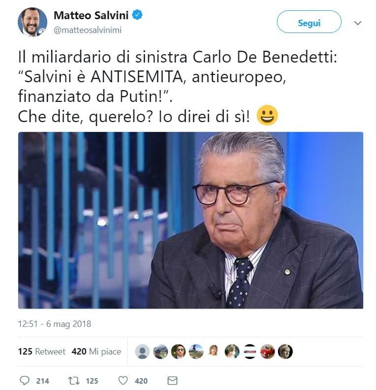carlo de benedetti matteo salvini antisemita