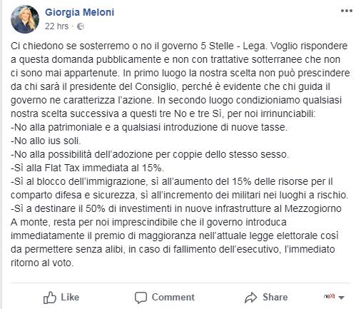 giorgia meloni fdi governo salvini di maio m5s lega - 1