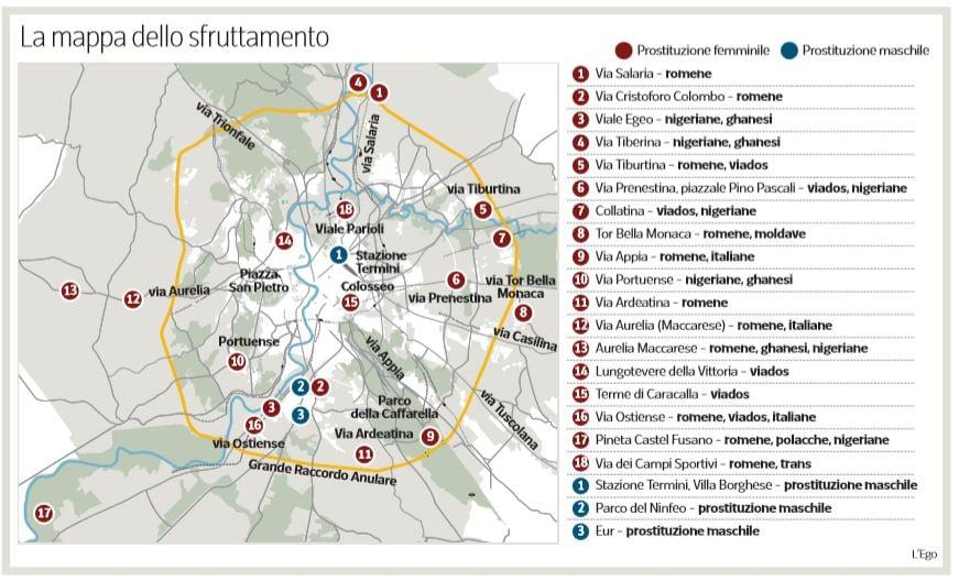 Cartina Roma Est.La Mappa Delle Settemila Prostitute Nelle Strade Di Roma
