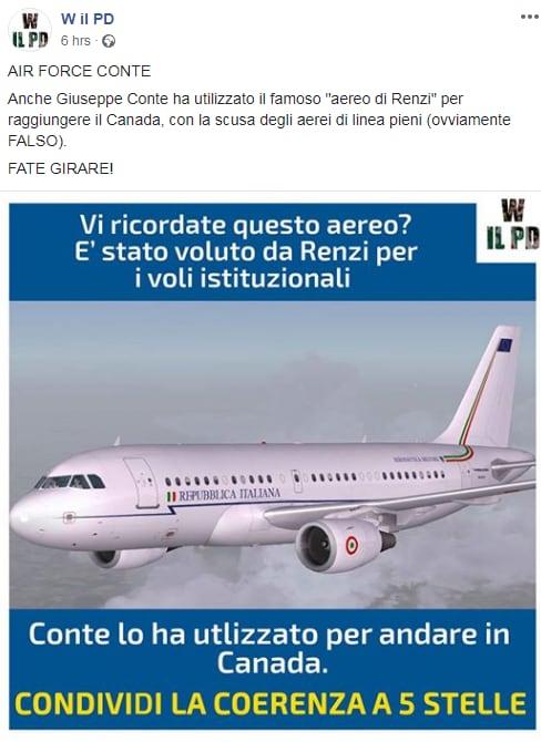 air force renzi bufala pd conte canada volo di stato - 1
