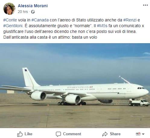 air force renzi bufala pd conte canada volo di stato - 2