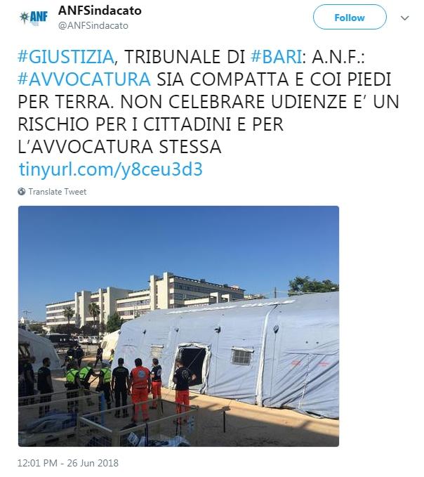 bonafede tribunale bari tendopoli sciopero - 3