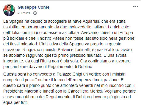 conte salvini migranti aquarius spagna dublino - 1
