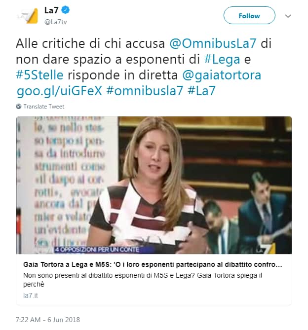 gaia tortora omnibus talk interviste lega m5s - 3