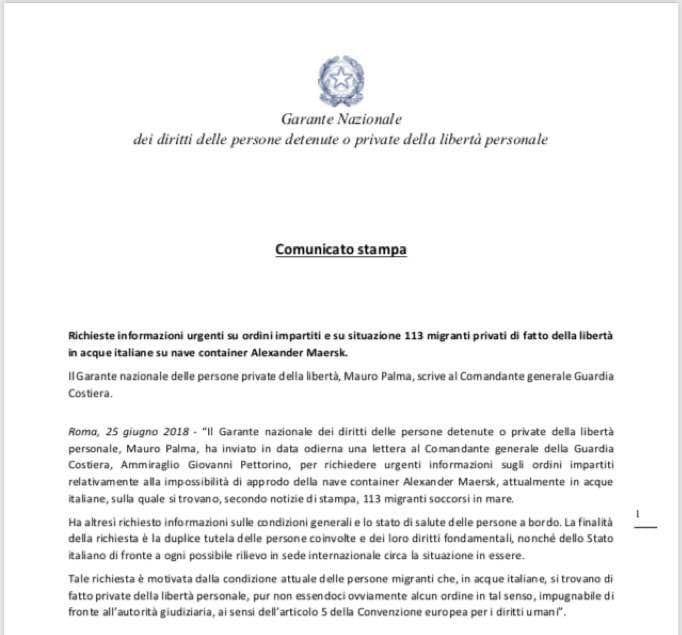 garante nazionale detenuti alexander maersk pozzallo
