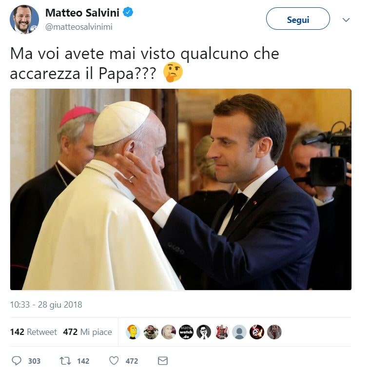 salvini macron papa