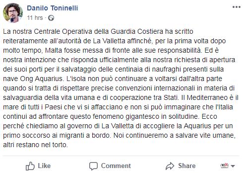toninelli m5s salvini lega migranti aquarius sos mediteranee - 2