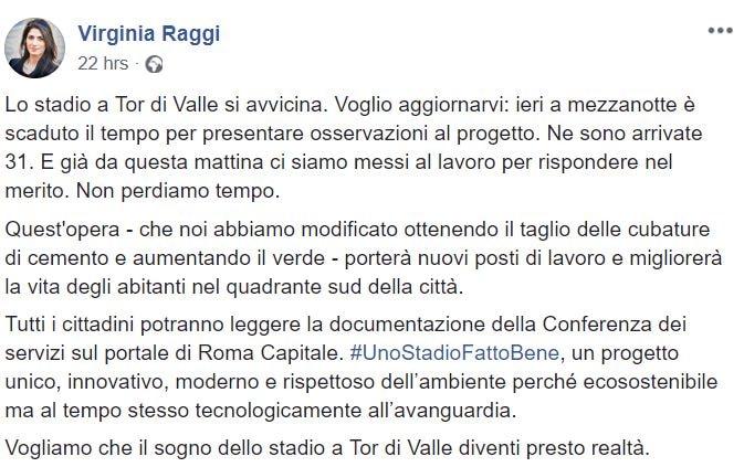 virginia raggi stadio della roma