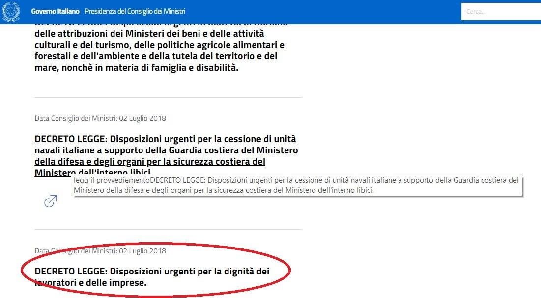 decreto dignità documento scomparso