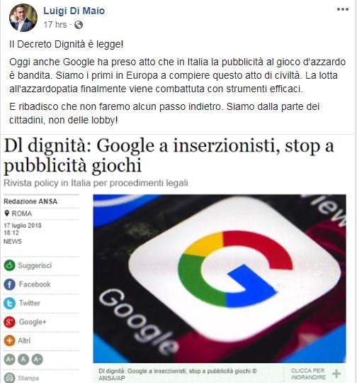 di maio google decreto dingità gioco azzardo -1