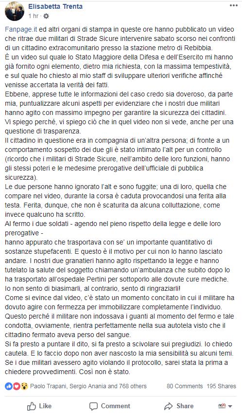 elisabetta trenta video fermo migrante Rebibbia - 1