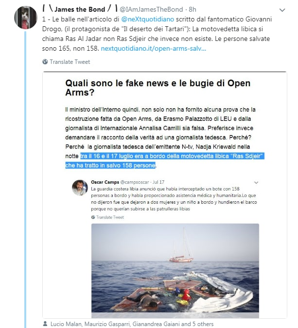 james the bond open arms salvini libia - 1