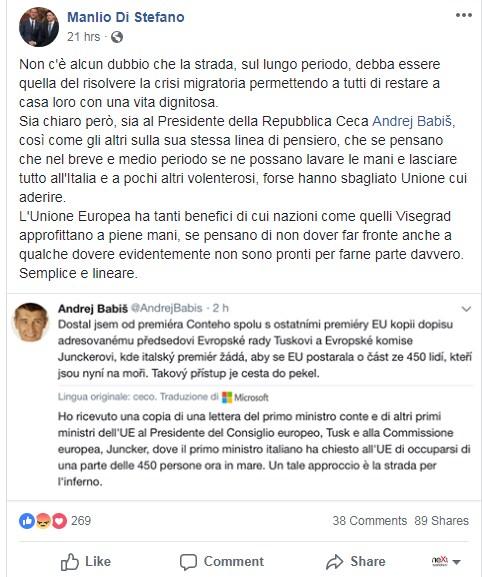 manlio di stefano presidente slovacchia visegrad migranti -1