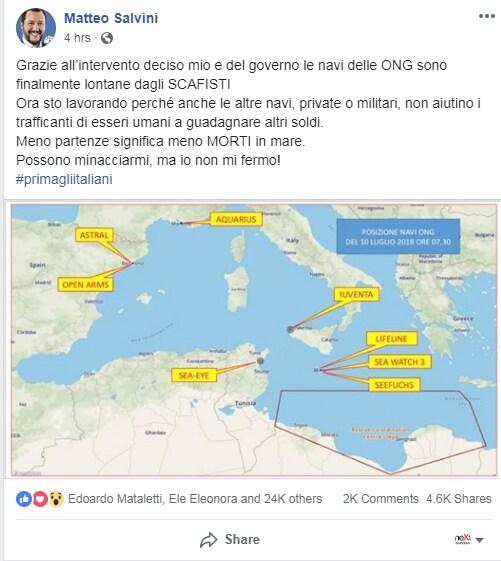 salvini toninelli vos thalassa migranti - 2