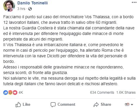 salvini toninelli vos thalassa migranti - 4