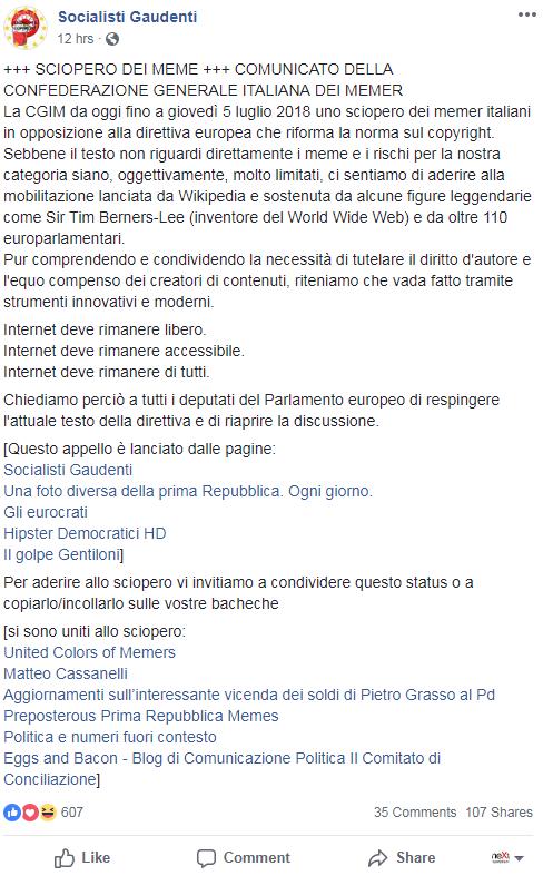 sciopero meme direttiva europea articolo 13 - 1