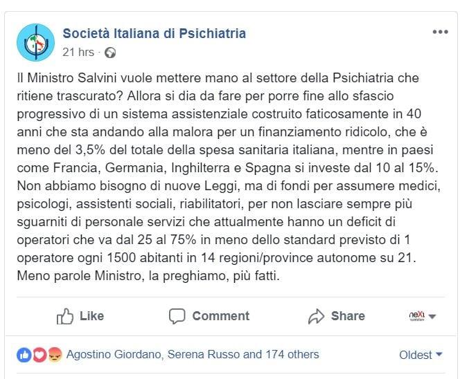 società italiana psichiatria salvini
