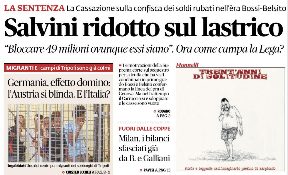 Perch la cassazione mette salvini sul lastrico for Elenco senatori italiani