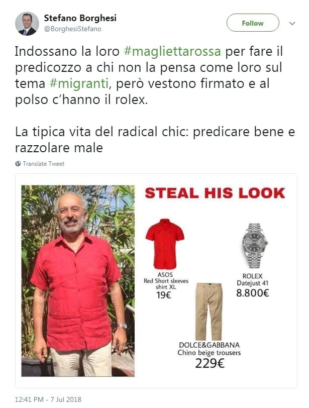 stefano borghesi radical chic maglietta rossa rolex - 4