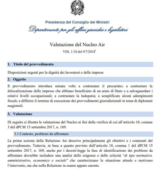 valutazione nucleo air pcm decreto dignità 1
